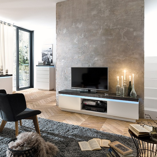 Mentis TV Stand With LED In Matt White And Concrete 27603