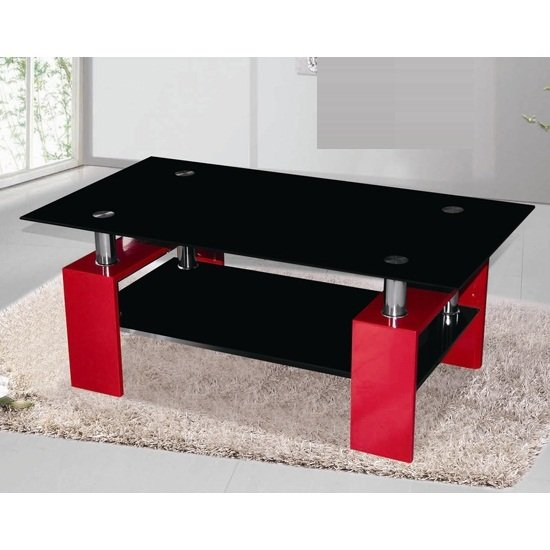living room storage units argos big lots sectionals kontrast coffee table in black glass with red high gloss