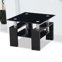 Kontrast Black Glass Side Table With High Gloss Legs 18205