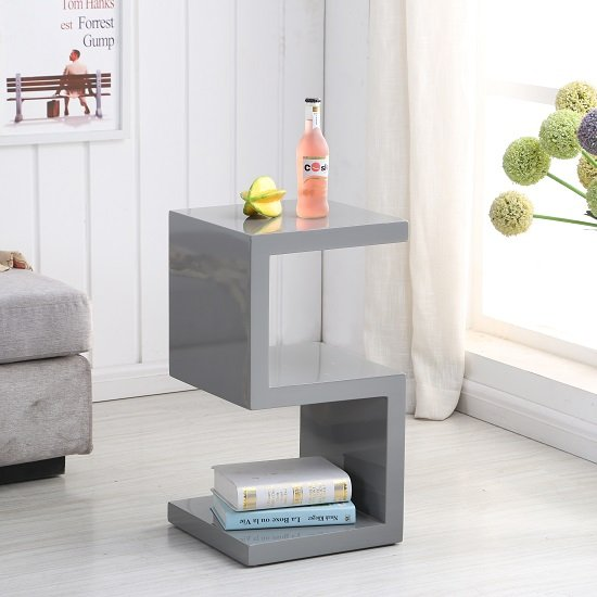 Miami Side Table In Grey High Gloss With S Shape Design Furniture In Fashion