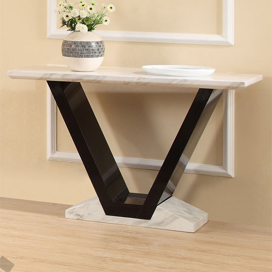 Midas Gloss Black Marble Console Table 18760 Furniture IN Fa