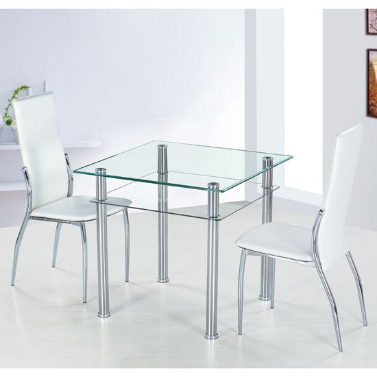 Como Square Clear Glass Dining Table And 2 Ivory Pisa
