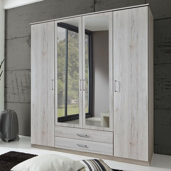 wooden wall units living room mirrored tv cabinet furniture octavia wardrobe in white oak with 4 doors 27736