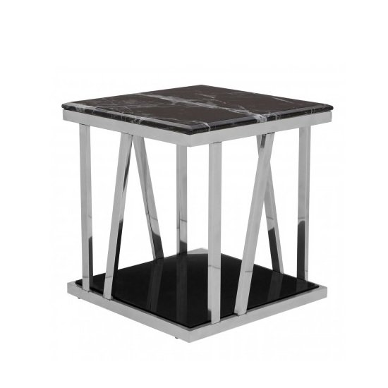 orion marble side table square in black with silver frame