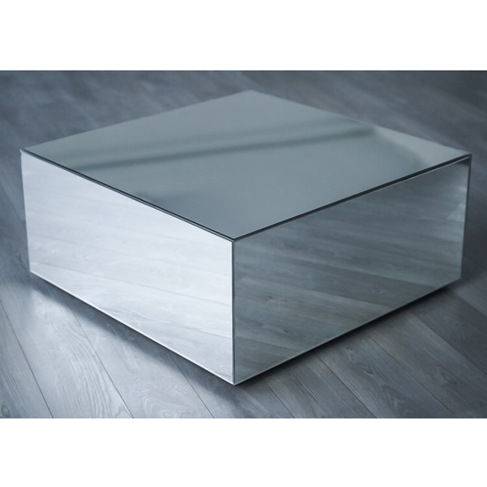 palo square mirrored wooden coffee table in silver