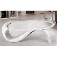 Panama Glass Top Coffee Table With White Base 10914 Furnitur