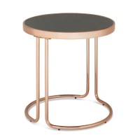 Parma Glass Lamp Table In Stone Effect With Rose Gold Base ...