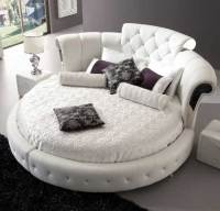 Romantica Round Chesterfield Style Bed In White Bonded