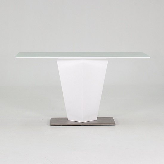 stella sofa table white twin bed console in frosted glass with gloss and metal base 1 click to enlarge