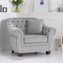 Chesterfield Style Fabric Sofa Big Small Room Sylvan Chair In Grey Plush