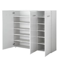 Adrian Large Shoe Cabinet In White Gloss Fronts With 3