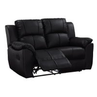 Texas 2 Seater Recliner Sofa In Black Faux Leather 28957