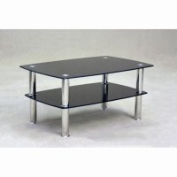 Pearl Rectangular Coffee Table In Black Glass With