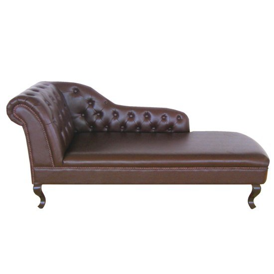 Antique Genuine Leather Chaise Lounge (Right Armrest