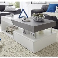 Tuna Extendable Storage Coffee Table In Matt White And
