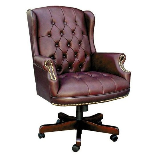 traditional leather office chair Chairman Brown Traditional Leather Executive Chair 6336