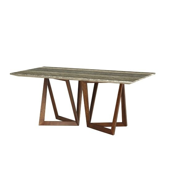 Webstar Multicolor Marble Large Dining Table With Walnut