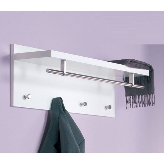 Pablo White Wall Mounted Coat Rack In High Gloss With Shelf