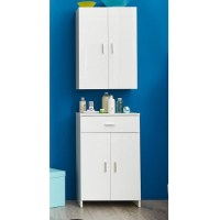 Wilmore Wall Bathroom Cabinet In White With High Gloss