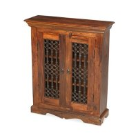 Zander Wooden CD DVD Storage Cabinet In Sheesham Hardwood