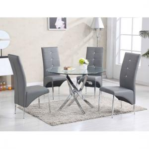 round glass kitchen table metal sets dining and 4 chairs uk furniture in fashion daytona with vesta grey
