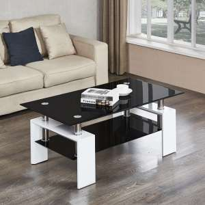 tables in living room how to paint an accent wall high gloss coffee uk furniture fashion kontrast table black glass with white legs