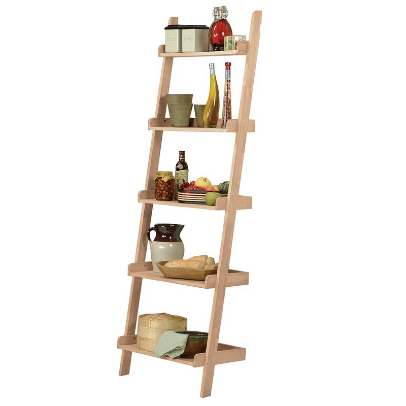 whitewood ladder bookshelf leaning