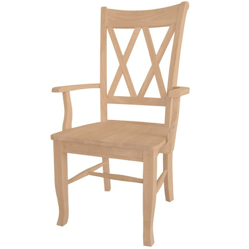double x back chairs swing chair amsterdam dining arm is unfinished ready for your project side with wood seat