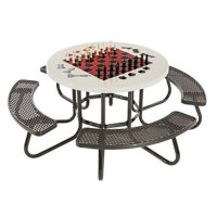 """48"""" Round Game Picnic Table with Fiberglass Top and ..."""
