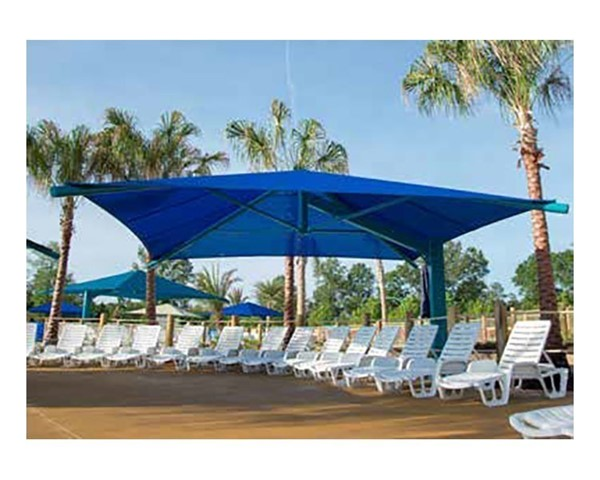 square fabric cantilever umbrella shade structure with 12 ft entry height and single steel post furniture leisure