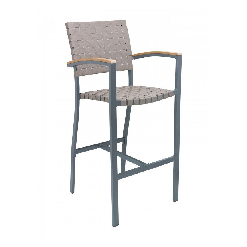 Uptown Outdoor Restaurant Bar Height Chair with Aluminum