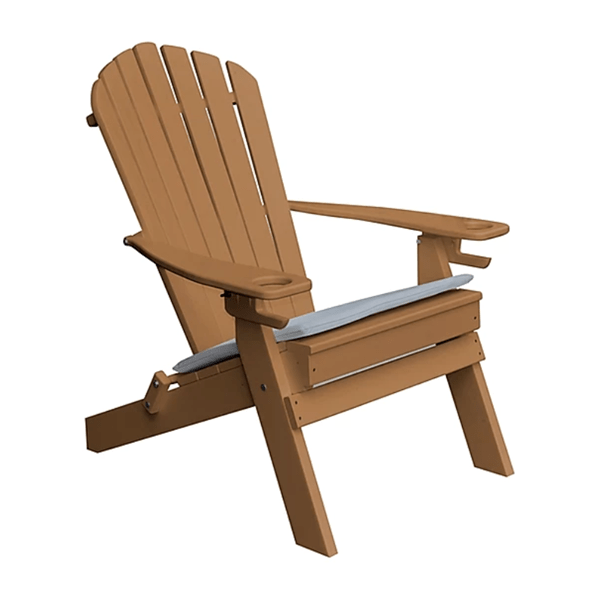 recycled plastic adirondack chair with two cup holders and folding frame furniture leisure