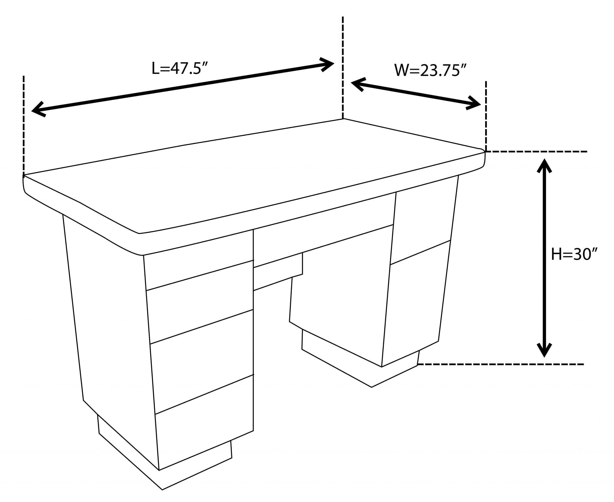662a Office Table Dimension