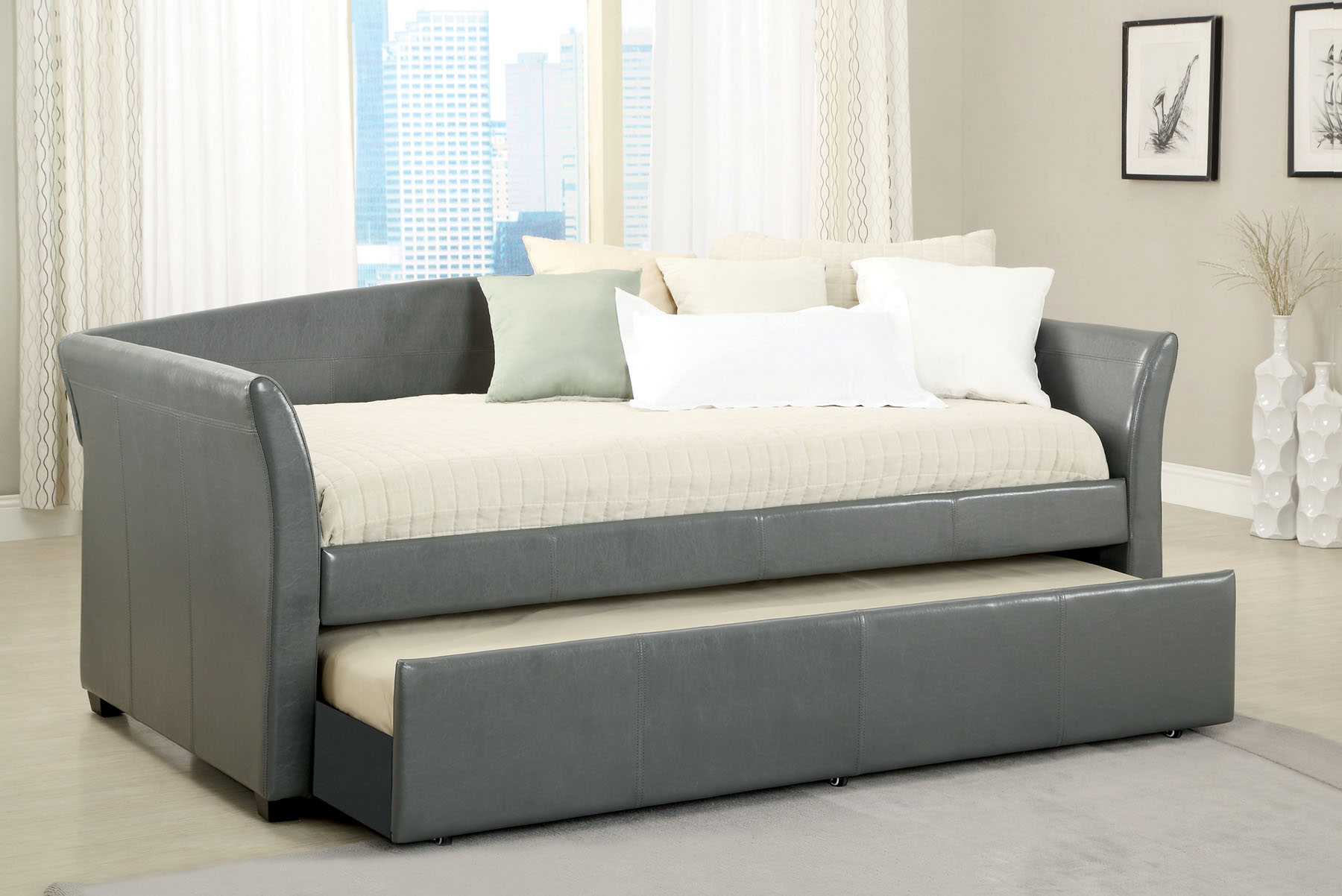 Faux Leather Daybed CM1956GY  Furniture Mattress Los