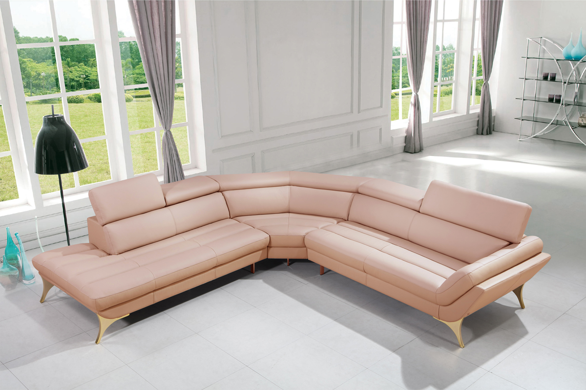 vig divani casa pink leather sectional sofa