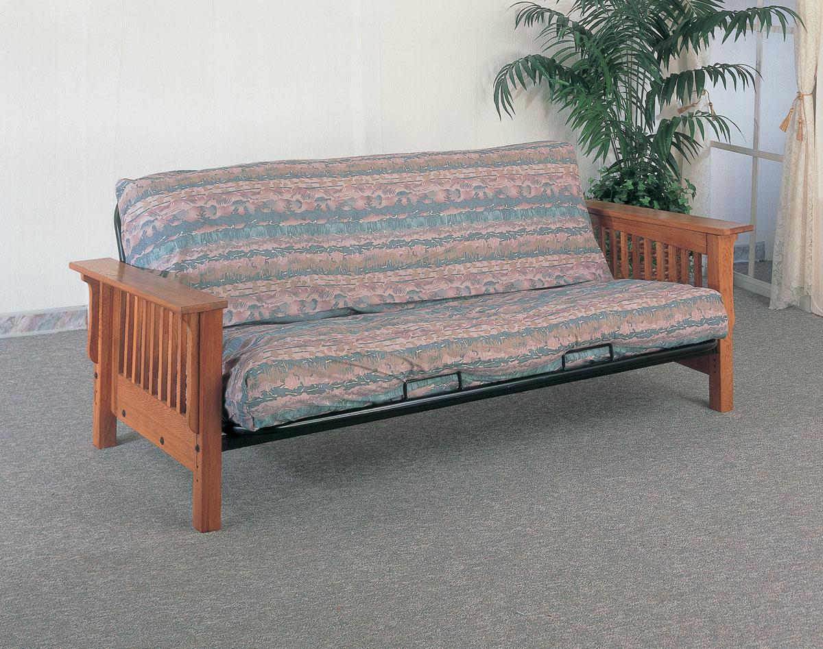 oak furniture sofa beds big white cushions coaster mission solid arm futon frame dallas tx