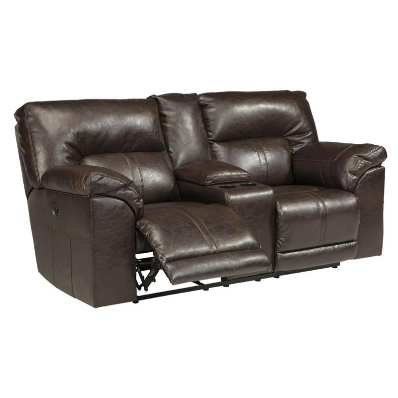 Ashley Barrettsville Durablend Chocolate Power Loveseat