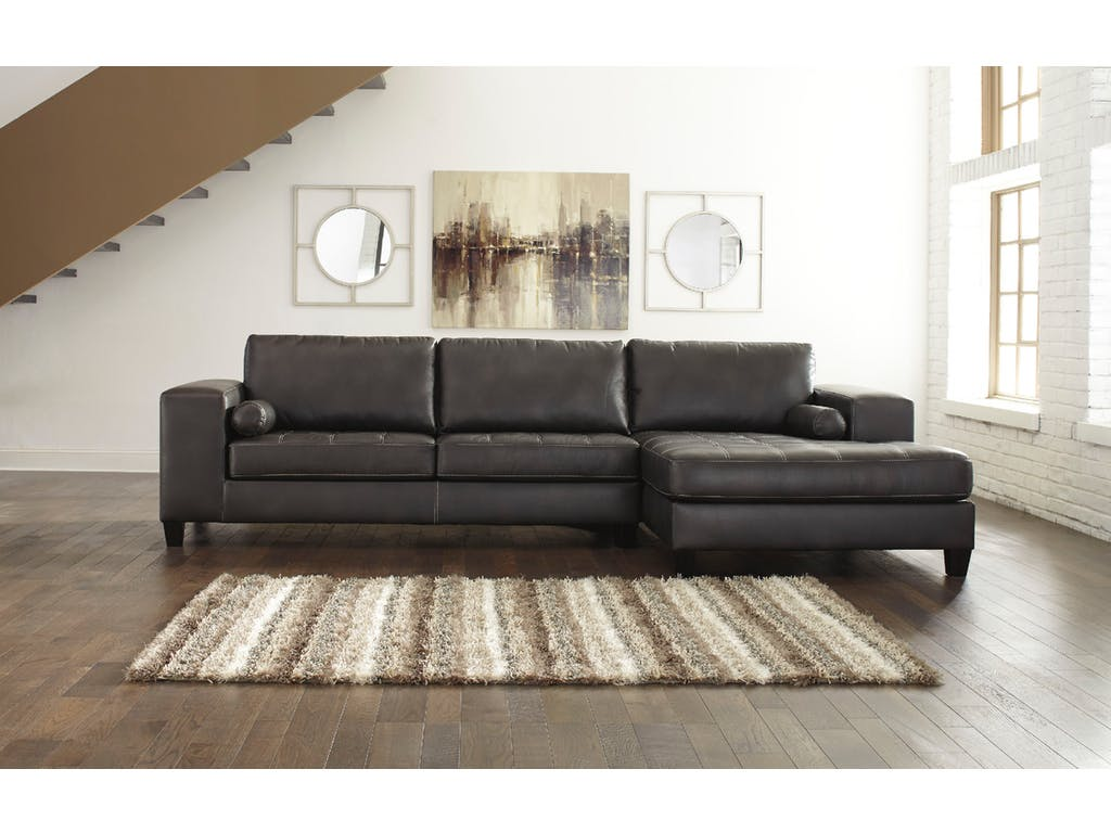 right arm facing sofa left chaise sleeper with storage ashley nokomis 2pc charcoal