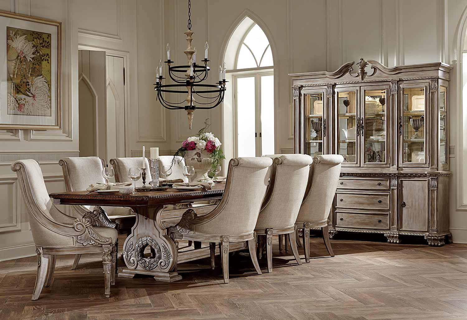 Homelegance Orleans Ii 9pc Antiqued White Dining Table Set Dallas Tx Dining Room Sets Furniture Nation
