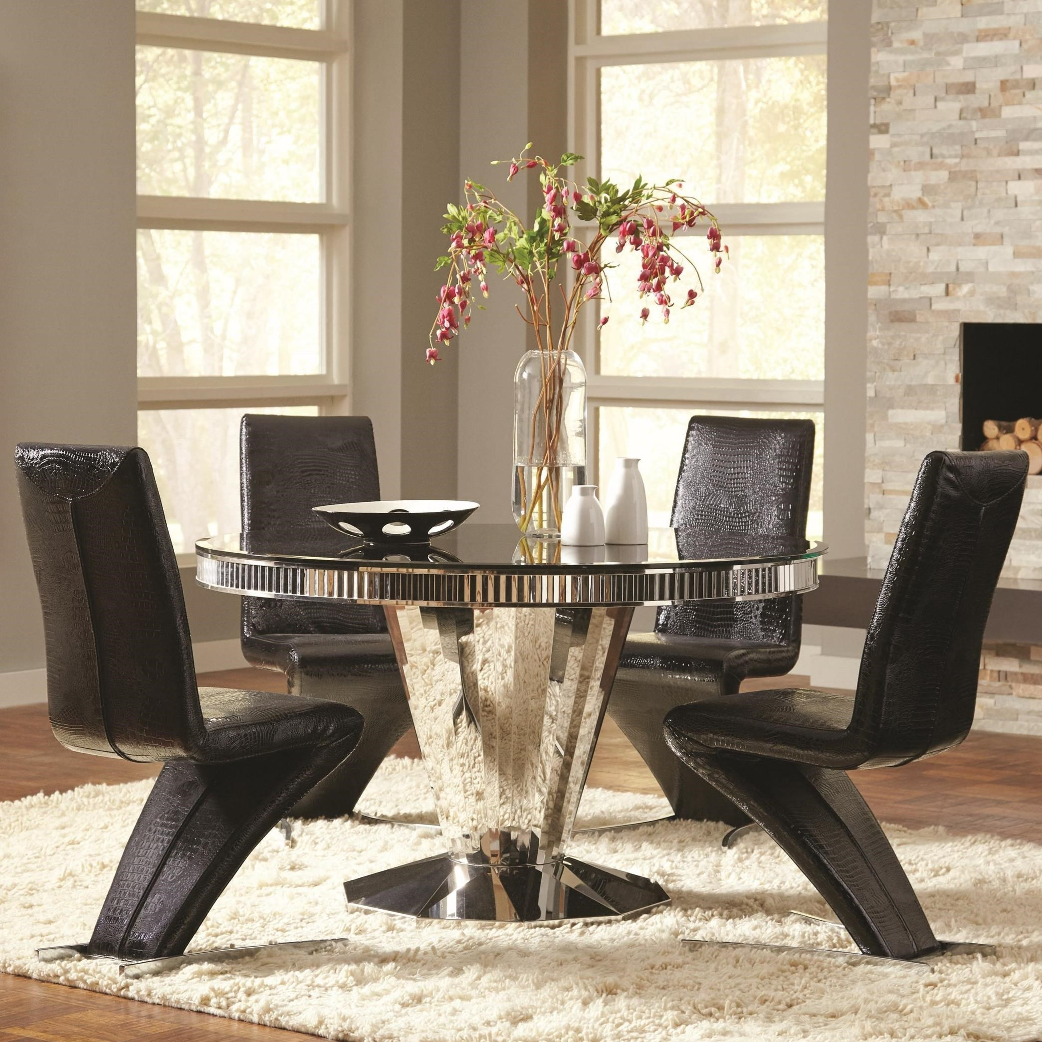 Coaster Barzini 5pc Black Stainless Steel Dining Table Set Dallas Tx Dining Room Sets Furniture Nation