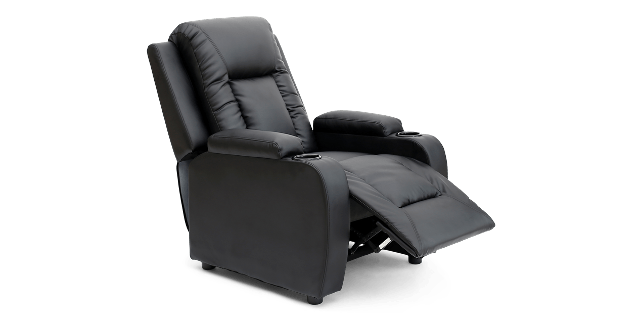 Cameron Push Back Recliner Chair in Black
