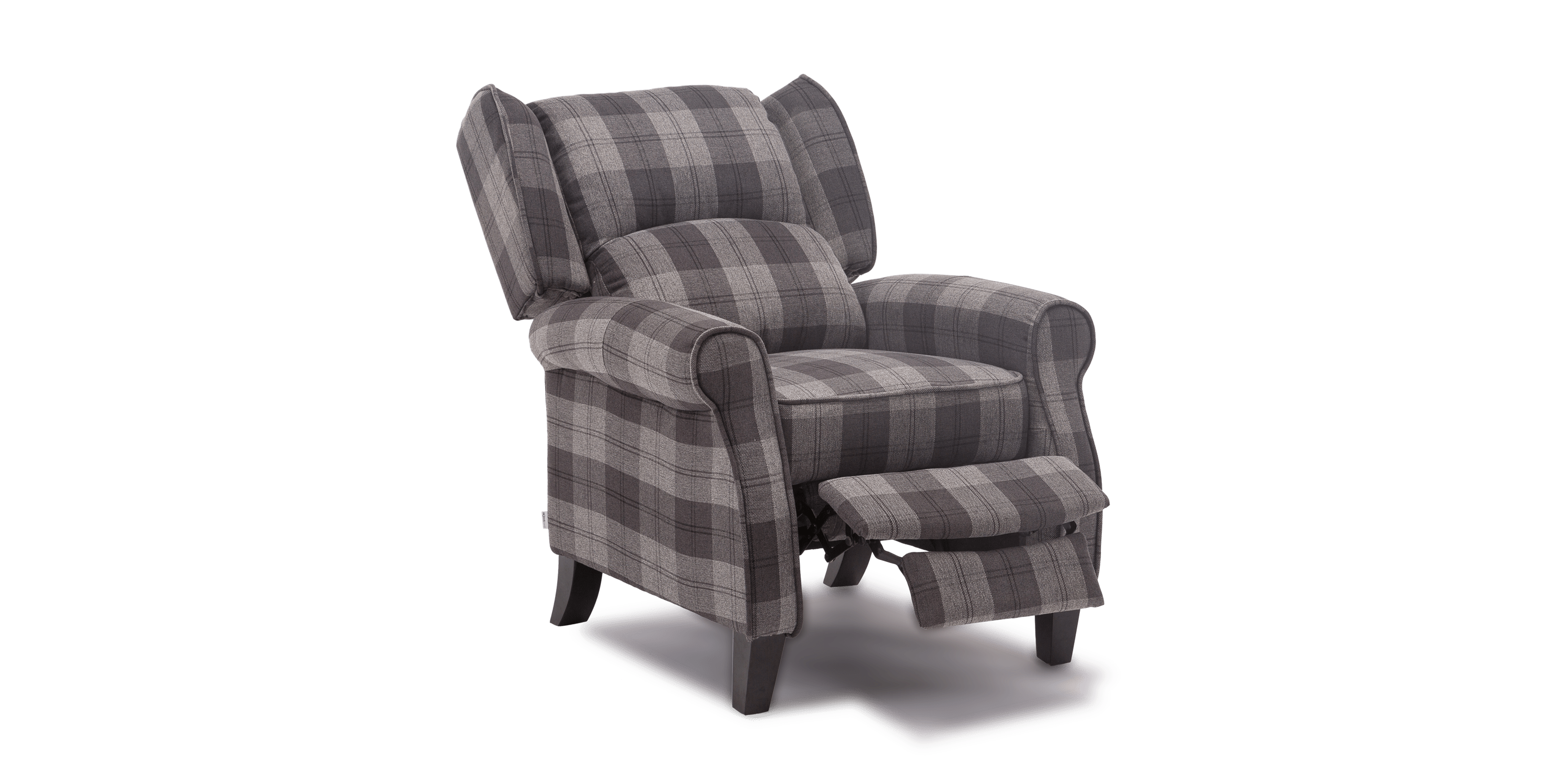 grey leather recliner chair uk back covers for folding chairs eden armchair in tartan