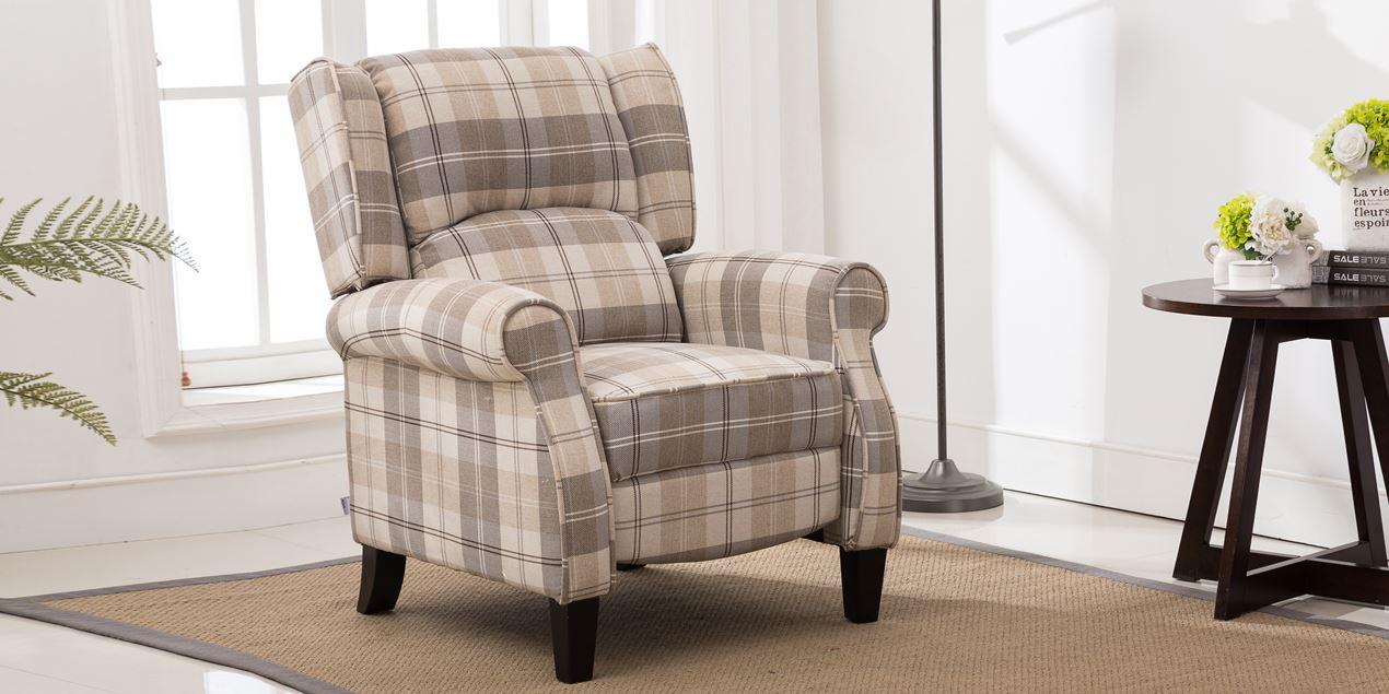 Eden Recliner Armchair in Tartan Beige