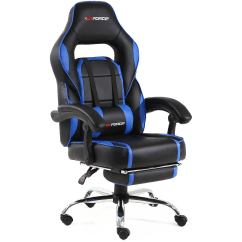 Gaming Chair With Footrest Cushions For Metal Folding Chairs Pace Recline And In Black Blue