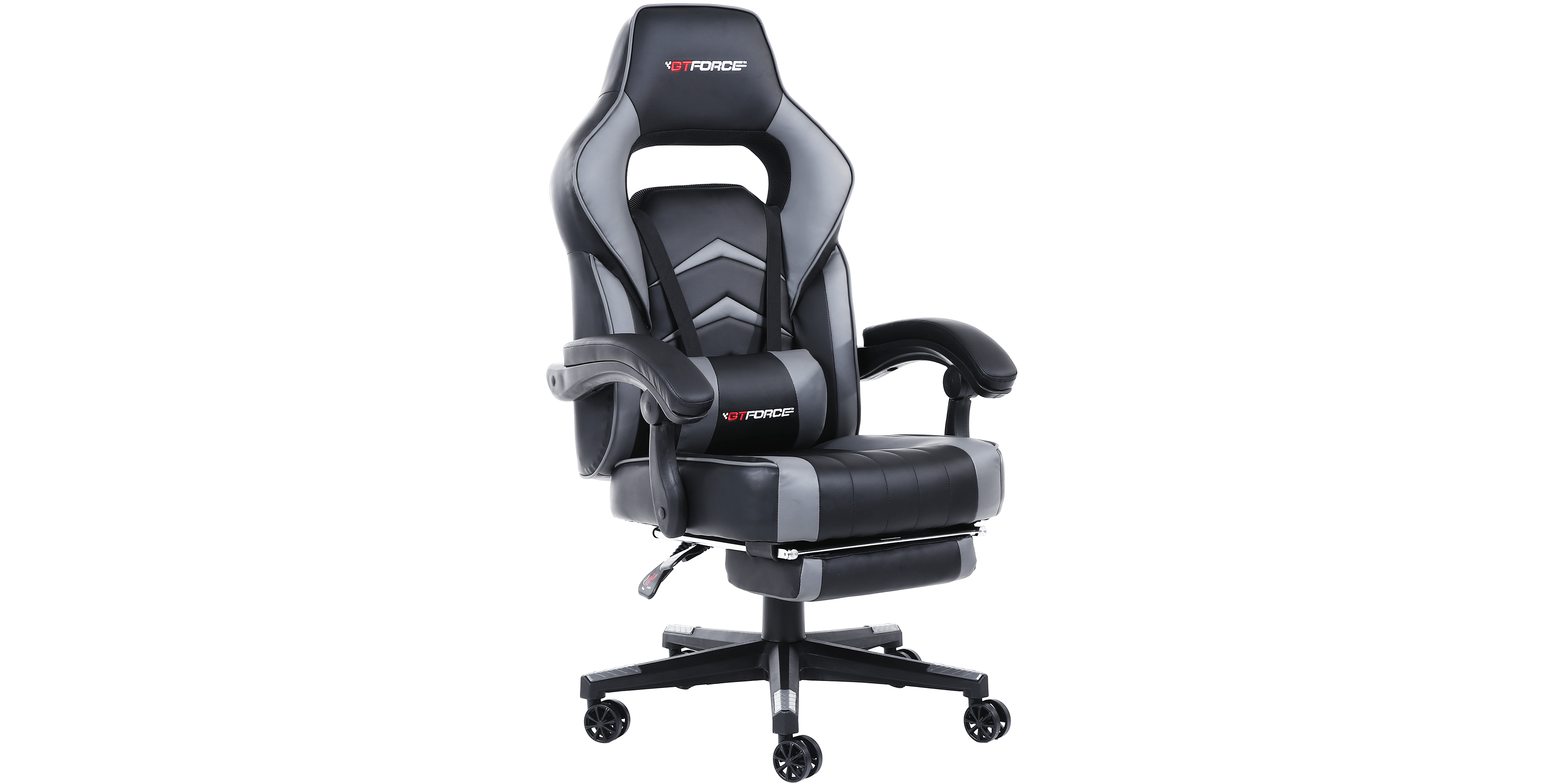 gaming chair with footrest how to make a turbo recline and in black grey