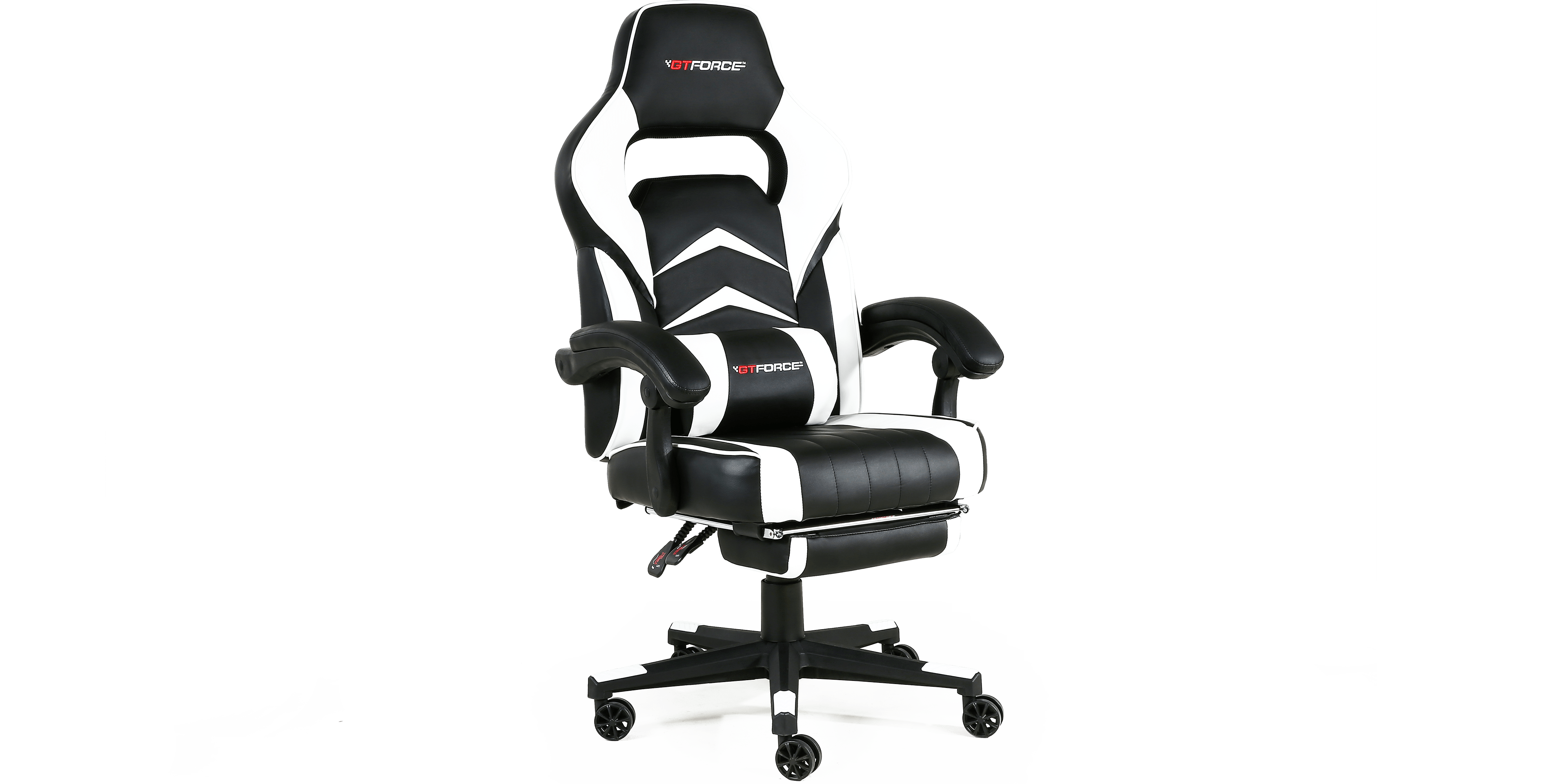 gaming chair with footrest hanging reading turbo recline and in black white