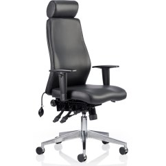 Influx Posture Chair Folding Yoga Dynamic Onyx Ergo Black Bonded Leather With Headrest Arms