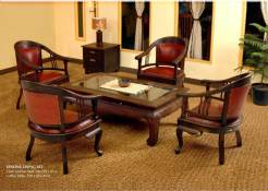 Lenong Leather Furniture Living Wooden Set