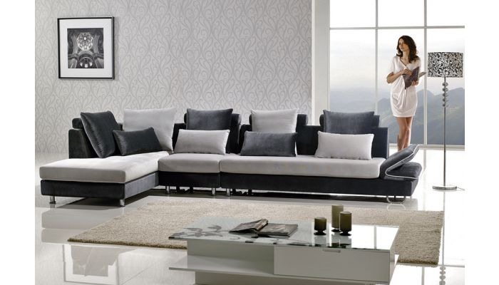 leon two tone microfiber sectional sofa
