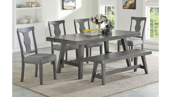 Lavon Table Set Rustic Gray Finish